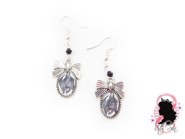 Antique Silver Vampire Bat Earrings